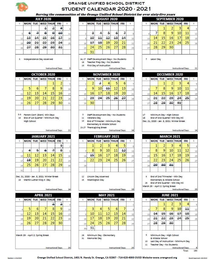 Calendar   Orange Unified School District