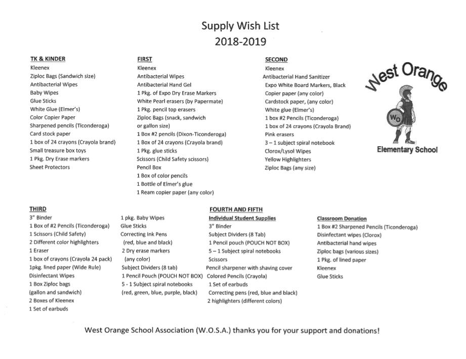 Grade Level Supply List Orange Unified School District