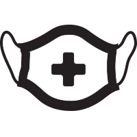 Picture of mask with medical cross icon